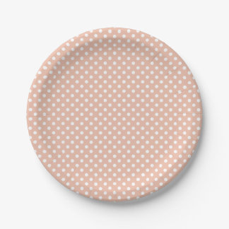 Rose gold/blush and white polka dots 7 inch paper plate