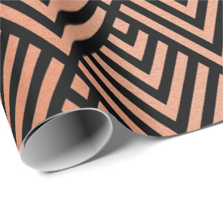 Rose Gold Blush Black Geometry Art Deco Copper Wrapping Paper