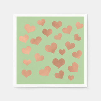 Rose Gold Blush Confetti Hearts Greenery Green Disposable Serviettes