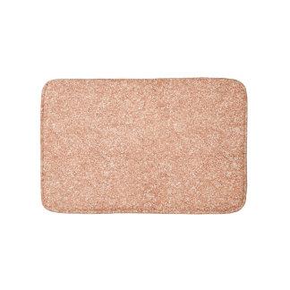 Rose Gold Blush Coral Peach Copper Lux Glitter Bath Mat