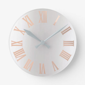 Rose Gold Blush Gray Silver Ombre Minimal Metallic Round Clock
