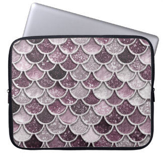 Rose Gold Blush Ombre Glitter Mermaid Scales Laptop Sleeve
