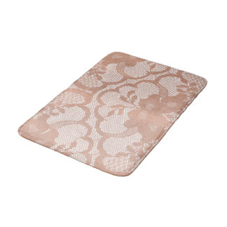Rose Gold Blush Pink Lace Glam White Luxury Glam Bath Mat