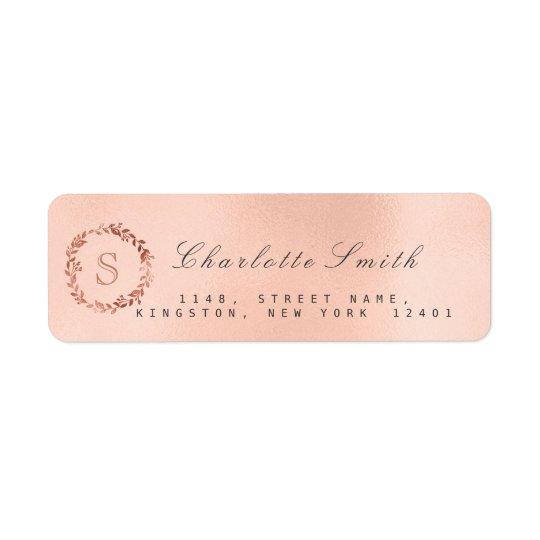 Rose Gold Blush Wreath VIP Monogram RSVP Bridal Return Address Label