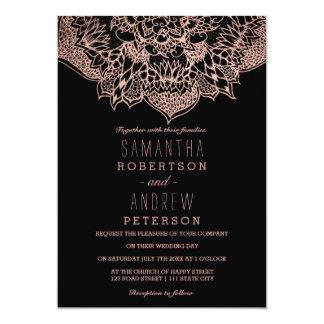 Rose gold boho floral mandala wedding 13 cm x 18 cm invitation card