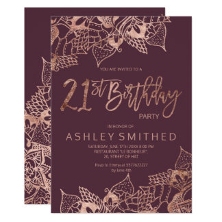 Rose gold bordeaux floral typography 21st birthday card