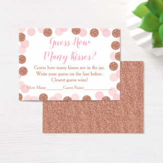 Rose Gold Bridal How Many Kisses Game Business Card