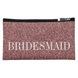 Rose Gold Bridesmaid Personalized Cosmetic Bags