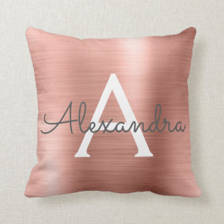 Rose Gold Brushed Metal Monogram Name and Initial Cushion