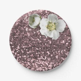 Rose Gold Bush Floral White Jasmine Glitter Paper Plate