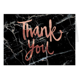 rose gold calligraphy thank you on black marble card