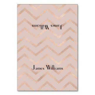 Rose Gold Chevron Place Setting Cards Table Cards