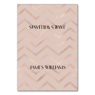 Rose Gold Chevron Seating Place Card Table Card