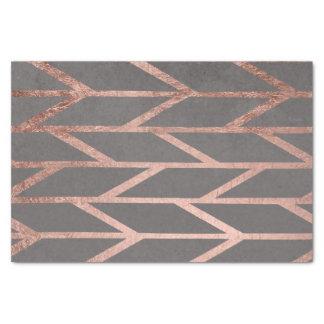 Rose gold chevron stripes geometric grey cement tissue paper