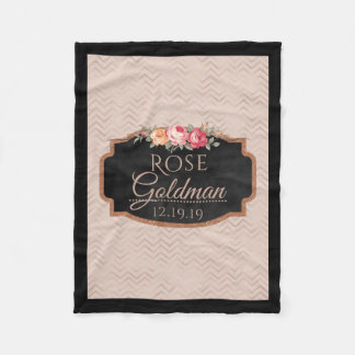 Rose Gold Chevron Stripes | Monogrammed Floral Fleece Blanket