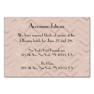 Rose Gold Chevron Wedding Accommodation Table Card