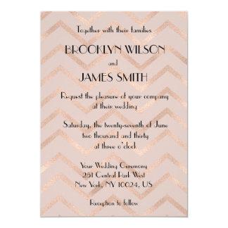 Rose Gold Chevron Wedding Invites