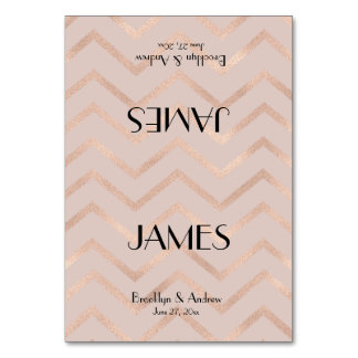 Rose Gold Chevron Wedding Place Cards Table Cards