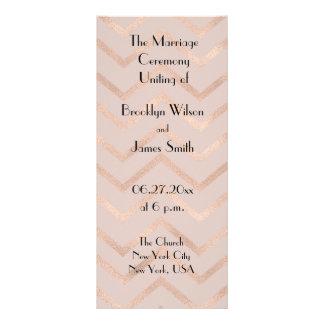 Rose Gold Chevron Wedding Program Cards Personalized Rack Card