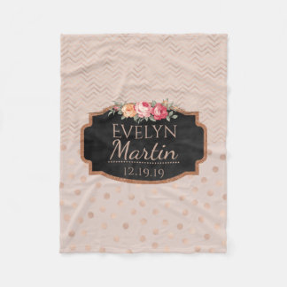 Rose Gold Chevrons Polka Dots | Monogrammed Floral Fleece Blanket