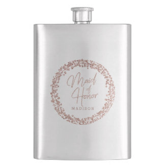 Rose Gold Circle Frame Wedding Maid of Honor Hip Flask