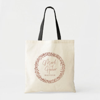 Rose Gold Circle Frame Wedding Maid of Honor Tote Bag