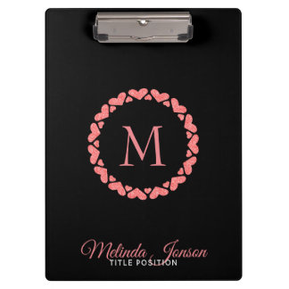 Rose Gold Circle Of Hearts Clipboard