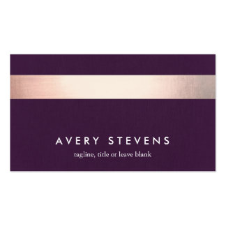 Rose Gold Colored Striped Modern Purple Chic 2 Pack Of Standard Business Cards