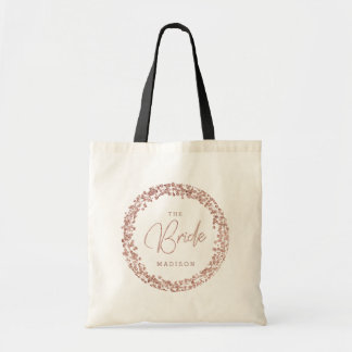 Rose Gold Confetti Circle Frame Wedding The Bride Tote Bag
