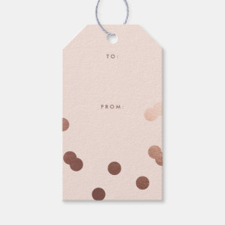 Rose gold confetti faux foil gift tags