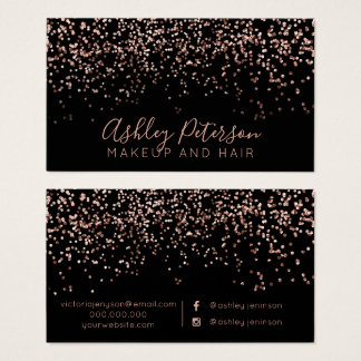 Rose gold confetti makeup hair typography business card