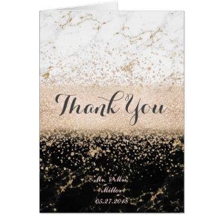 Rose gold confetti marble wedding artwork card