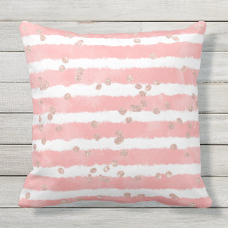 Rose gold confetti pink blush watercolor stripes outdoor cushion