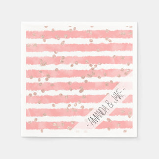 Rose gold confetti pink blush watercolor stripes paper napkin