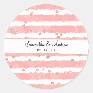 Rose gold confetti pink watercolor stripes pattern classic round sticker