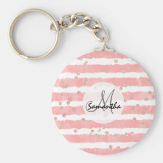 Rose gold confetti pink watercolor stripes pattern key ring