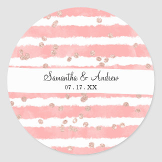 Rose gold confetti pink watercolor stripes pattern round sticker