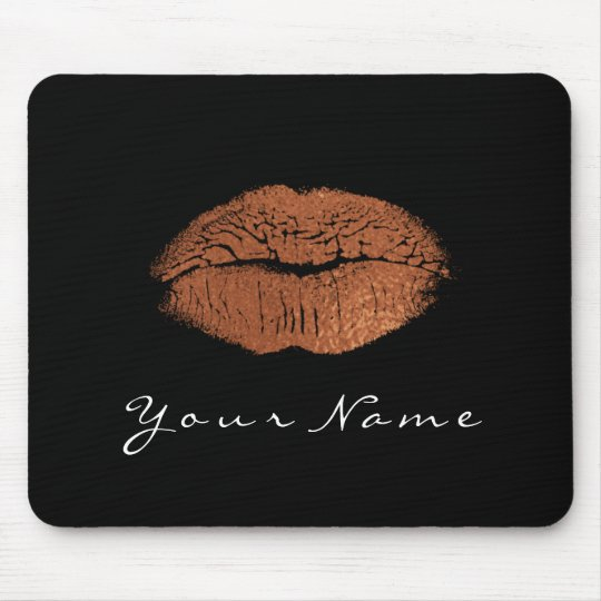Rose Gold Copper Black White Name Makeup Lips Kiss Mouse Pad