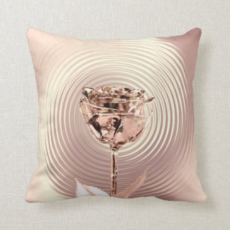 Rose Gold Copper Flower  Lux Metallic Copper Cushion