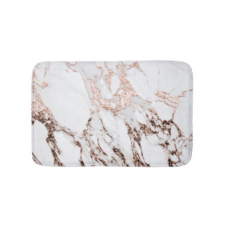 Rose Gold Copper Glitter Metallic Black Marble Bath Mat