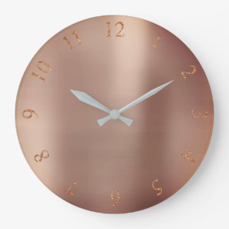 Rose Gold Copper Glitter Metallic US UK Numbers Large Clock