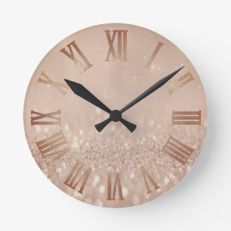 Rose Gold Copper Glitter Minimal Metal Roman Numer Round Clock