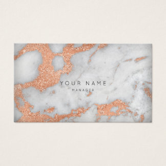 Rose Gold Copper Gray Carrara Marble Appointment Business Card