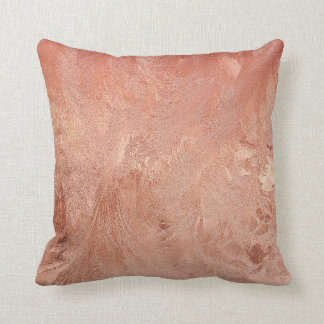 Rose Gold Copper Texture Metallic Cushion