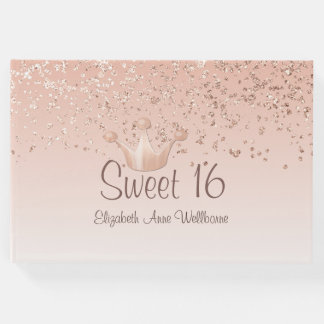 Rose Gold Crown Sweet 16 Guest Book