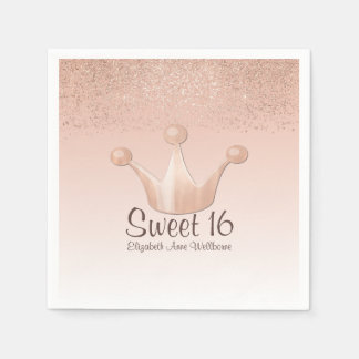Rose Gold Crown Sweet 16 Paper Napkins