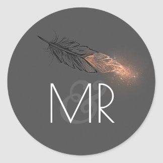 Rose Gold Dipped Feather Glitter Wedding Round Sticker