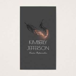 Rose Gold Dipped Feathers Author Elegant Business Card