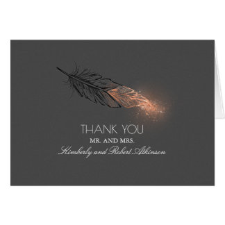 Rose Gold Dipped Glitter Feather Elegant Thank You Card