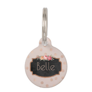 Rose Gold Dots Personalized Pet ID Phone Pet Tag